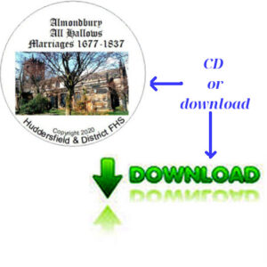 Almondbury, All Hallows, Marriages 1677-1837 CD & Downloadable File