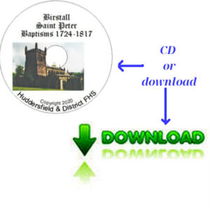 Birstall, St Peter Baptisms 1724-1817 CD & Downloadable File