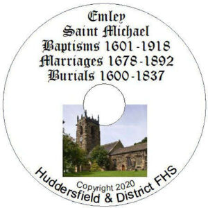 Emley, St Michael, Baptisms, Marriages & Burials CD