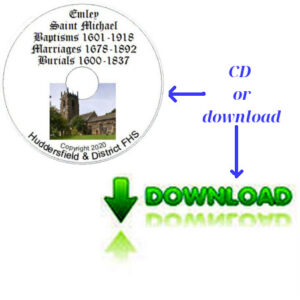 Emley, St Michael, Baptisms, Marriages & Burials CD & Downloadable File