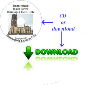 Huddersfield, St Peter, Marriages 1581-1837 CD & Downloadable File