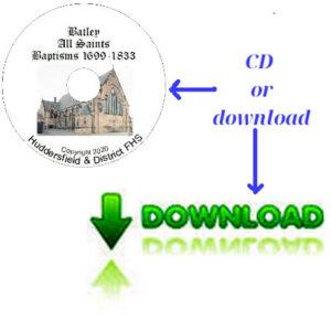 Batley, All Saints, Baptisms 1699-1830 CD & Downloadable file